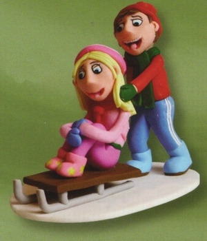 Claydough Children Sledging