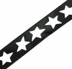 Star Cut-Out Black Ribbon - 25mm
