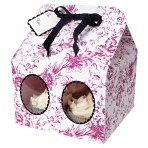 Pink Toile Large Cupcake Box Pk of 3
