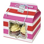 Pink and Red Stripe Cupcake Box Pk of 3