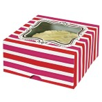 Pink and Red Stripe Large Cake Box Pk of 2