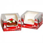 Single Christmas Cupcake Box with Clear Window