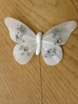 *SALE* White Feather Diamante Butterfly on Wire