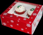 Snowflake Red and White Christmas Cupcake Box Holds 4