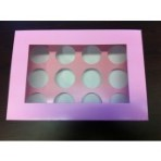 "4"" Extra Deep Pink Cupcake Box Holds 12"