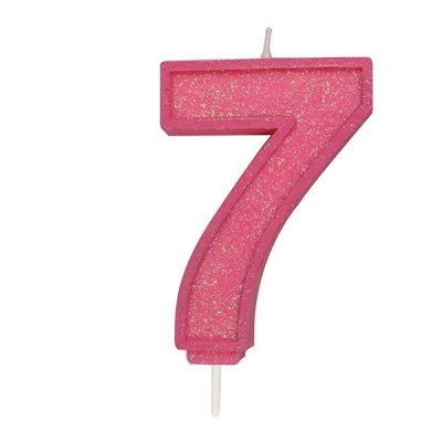 Pink Sparkle Candle Numeral 7