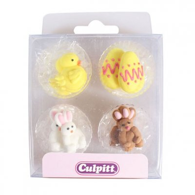 Chick, Egg and Rabbit Sugar Pipings Pack of 12