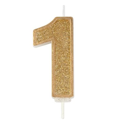 Gold Glitter Number Candle - 1