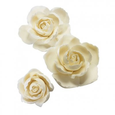 Gumpaste Rose Ruffled Edge Assortment 3 Piece - Ivory