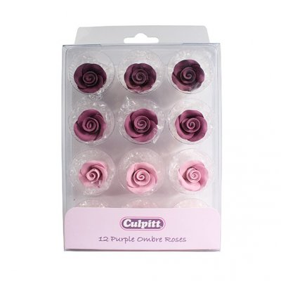 Culpitt Purple Ombre Sugar Roses 20mm Pack of 12