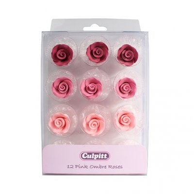 Culpitt Pink Ombre Sugar Roses 20mm Pack of 12