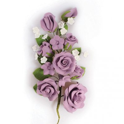 Gumpaste Lilac Rose Spray