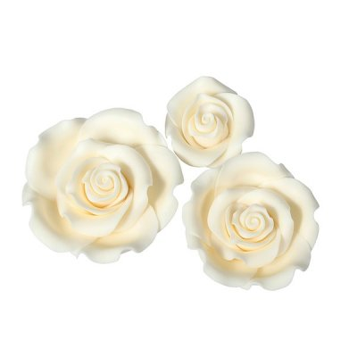 Mixed Ivory Edible Roses