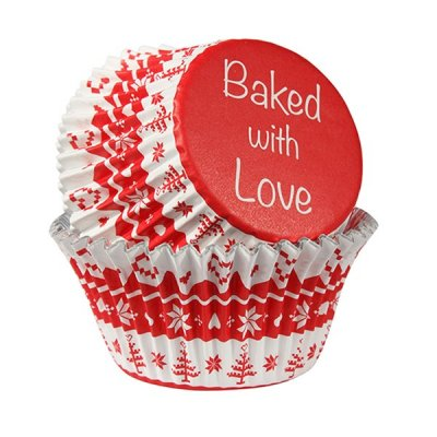 Baked With Love Foiled Lined Baking Cupcake Cases - Nordic Red