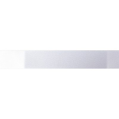 Double Faced Satin Ribbon - White/Silver Glitter 15mm x 20m