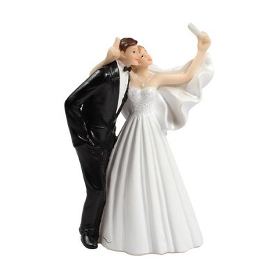 Bride Groom Selfie Wedding Cake Topper