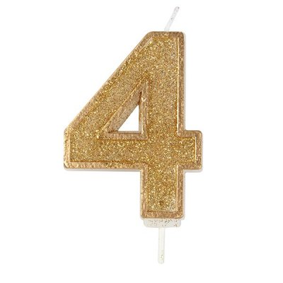 Gold Glitter Number Candle 4
