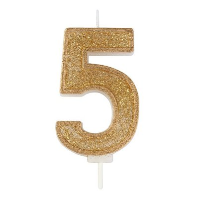 Gold Glitter Number Candle - 5
