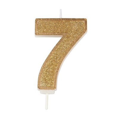 Gold Glitter Number Candle - 7