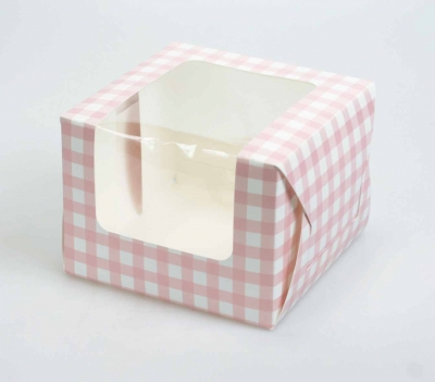 Bulk Pack of 25 Pink Gingham Single Cupcake/Muffin Boxes