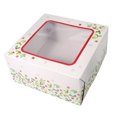 "10"" Holly Design Cake Box"