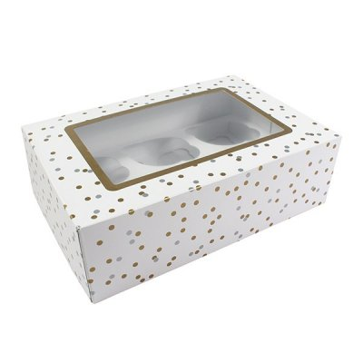 Metallic Spot Cupcake Box - Includes Inserts for 6 Cupcakes or 12 Mini Cupcakes -  Pack of 20