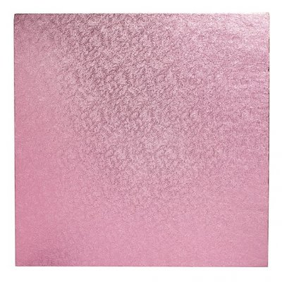 "Pack of 5 8"" Square Light Pink Cake Drums"
