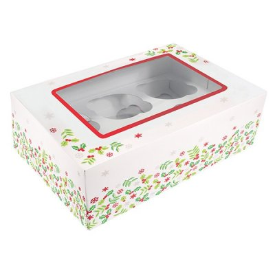 Pack of 20 Holly Cupcake Boxes Holds 6 Cupcakes or 12 Mini Cupcakes