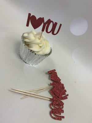 Glitter Card Cupcake Toppers - Red I Heart You x 6