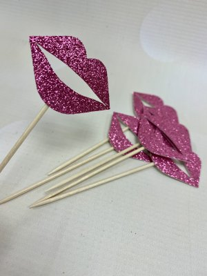 Glitter Card Cupcake Toppers - Hot Pink Lips x 6