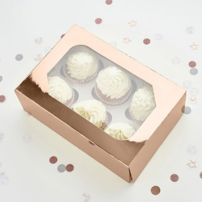 Rose Gold Cupcake Boxes Pack of 5
