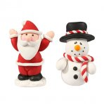 Cake Star Christmas Topper - Santa and Snowman