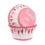 Pink Baked with Love Foil Lined Baking Cases with Bunting Design 25 pack