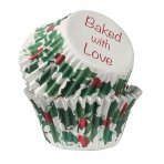 Baked With Love Foil Lined Baking Cupcake Cases - Holly Berry