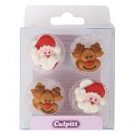 Santa & Rudolph Sugar Pipings 12 piece