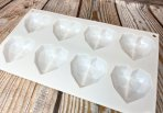 White Silicone Geometric Heart Chocolate Mould 8 Cavity