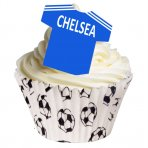 Wafer Football Shirt Toppers, Chelsea (Pack of 12)