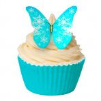 Edible Wafer Butterfly Toppers - Blue Snowflake - Pack of 12