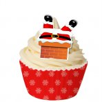 Edible Christmas Wafer Toppers - Santa Stuck Down The Chimney - Pack of 12