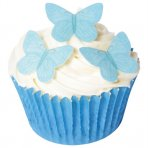 Small Blue Wafer Butterfly Toppers (Pack of 42)