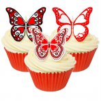 Assorted Heart Print Wafer Butterfly Toppers 12 Pc