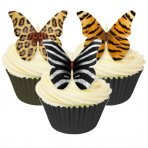Assorted Animal Print Wafer Butterfly Toppers 12 Pc