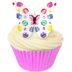 Assorted Colourful Polka Dot Wafer Butterfly Toppers 12 Pc
