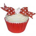 Red Polka Dot Wafer Bow Topper 10Pc