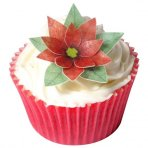 Edible Wafer Toppers - 3D Christmas Poinsettia - Pack of 6