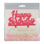 Pink Acrylic Happy Birthday Cake Topper