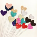 Cake Topper Mix n Match Glitter Hearts on Wires x 12