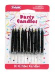 Black Glitter Candle Pack of 100