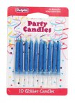 Blue Glitter Candle Pack of 100