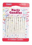 White Glitter Candle Pack of 100